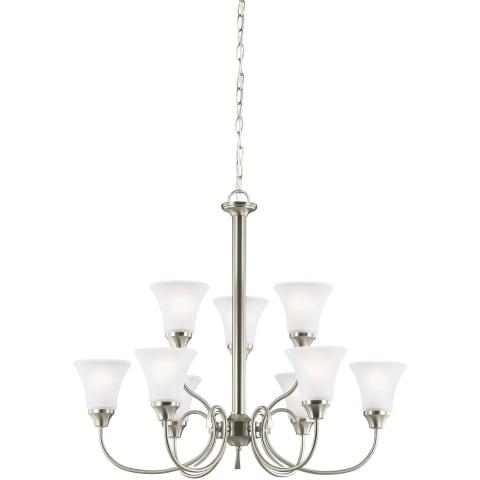 Holman Nine Light Chandelier Brushed Nickel Bulbs Inc