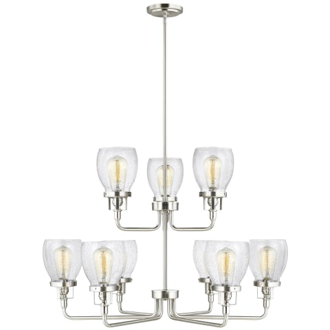 Belton Nine Light Up Chandelier Brushed Nickel