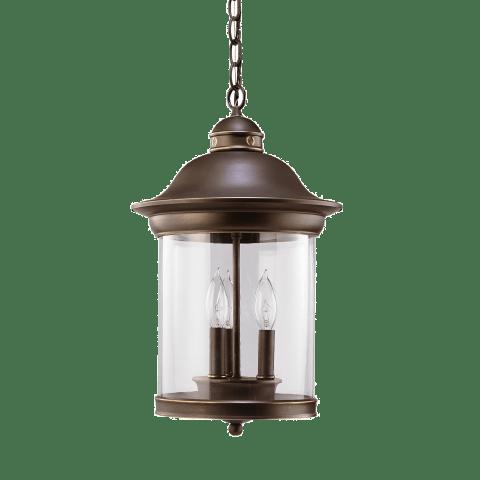 Hermitage Three Light Outdoor Pendant Antique Bronze Bulbs Inc