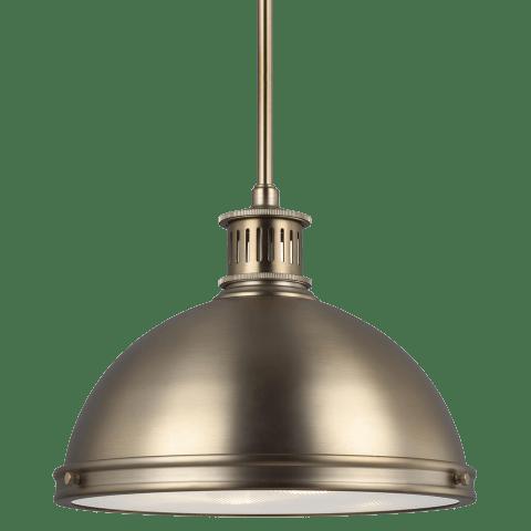 Pratt Street Metal Medium LED Pendant Satin Brass Bulbs Inc
