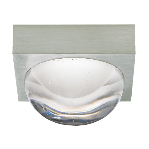 Sphere Flush Mount Clear satin nickel 3000K-2200K 90 CRI integrated led 90 cri 3000-2200k 120v