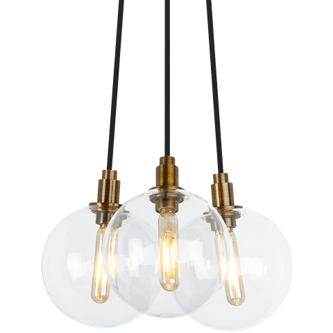 Gambit 3-Light Chandelier 3-LITE CHANDELIER Clear aged brass 2700K 90 CRI led 90 cri 2700k 120v (t20/t24)