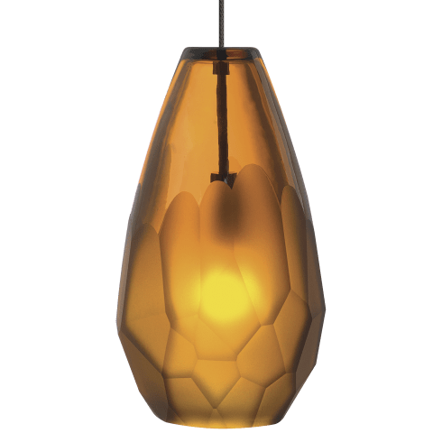Briolette Pendant MonoRail Amber satin nickel 2900K 100 CRI 12 volt xenon