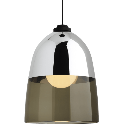 Copa Pendant Transparent Smoke-Chrome black no lamp