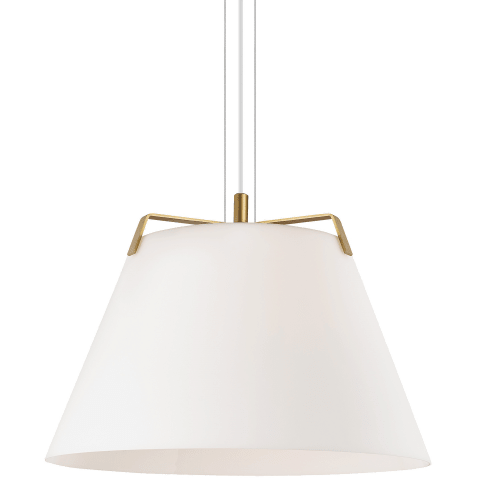 Devin Pendant White satin gold/white no lamp