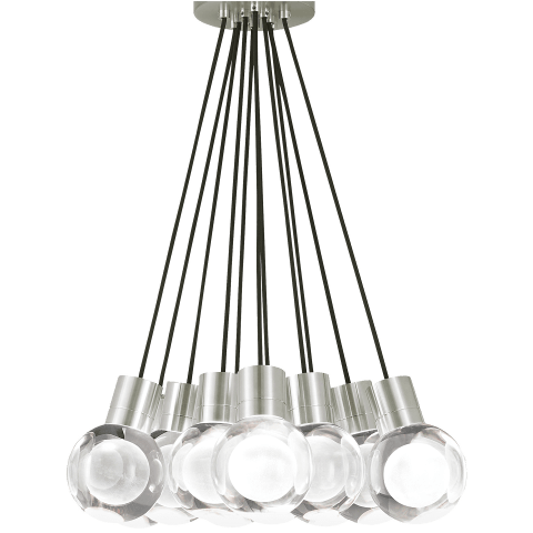 Mina Pendant 11-LITE CHANDELIER Clear satin nickel 3000K-2200K 90 CRI led 90 cri warm color dimming 3000k - 2200k 120v (t24)