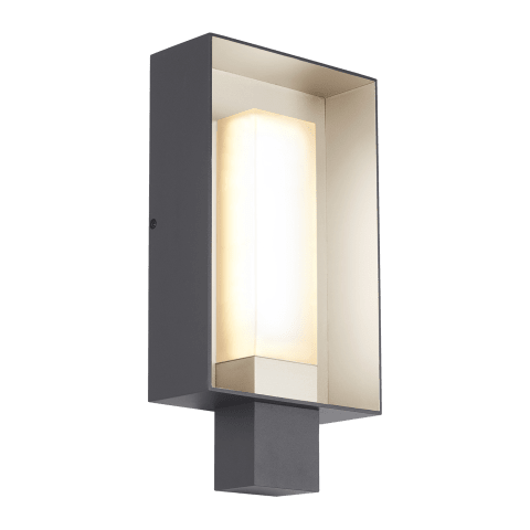 Refuge Square Outdoor Wall Large charcoal/satin haze 2700K 90 CRI led 90 cri 2700k 120v