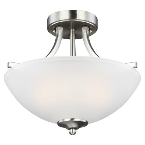 Geary Small Two Light Semi-Flush Convertible Pendant Brushed Nickel Bulbs Inc