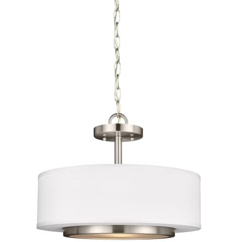 Nance Two Light Semi-Flush Convertible Pendant Brushed Nickel