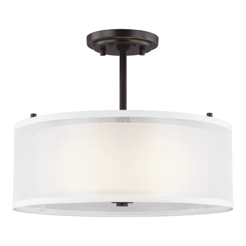 Elmwood Park Two Light Semi-Flush Mount Heirloom Bronze Bulbs Inc