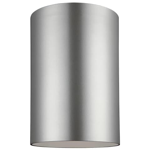 Outdoor Cylinders Large One Light Outdoor Flush Mount Painted Brushed Nickel
