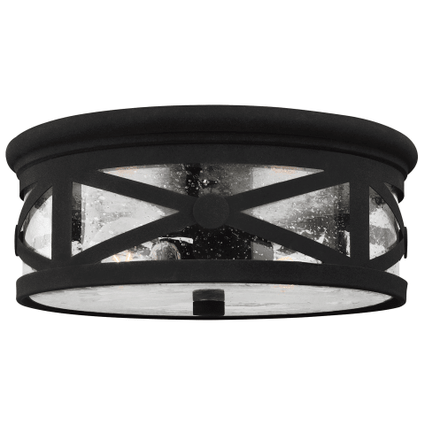 Lakeview Two Light Outdoor Flush Mount Black