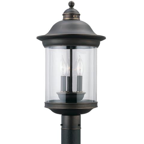 Hermitage Three Light Outdoor Post Lantern Antique Bronze