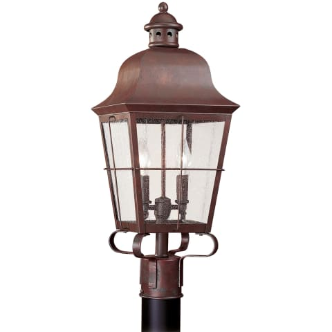Chatham Two Light Outdoor Post Lantern Weathered Copper
