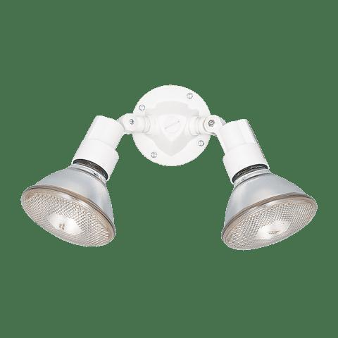 Two Light Adjustable Swivel Flood Light White