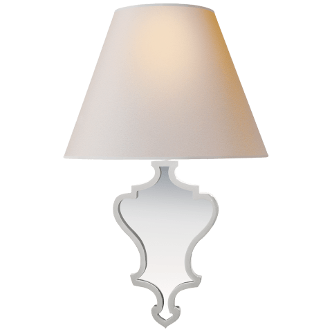 Madeline Small Mirrored Sconce in Polished Nickel with Natural Paper Shade