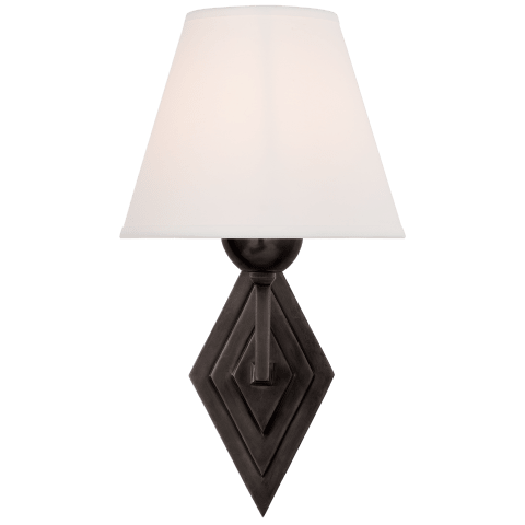 Bettina Single Sconce in Gun Metal with Natural Percale Shade