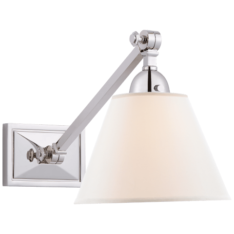 Jane Single Library Wall Light in Polished Nickel with Linen Shade