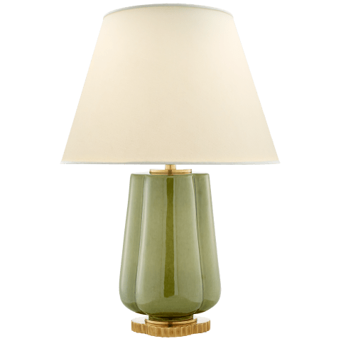 Eloise Table Lamp in Green with Natural Percale Shade