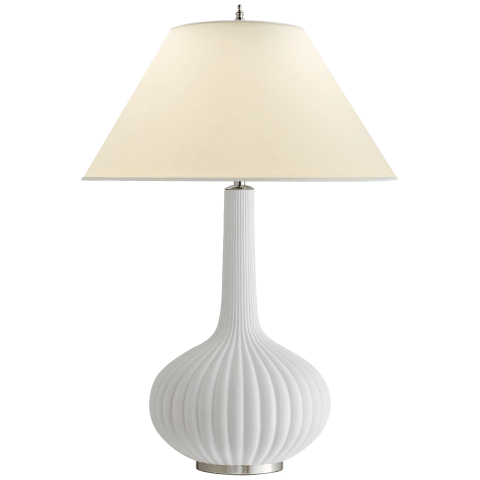 Charlotte Table Lamp in White Ceramic with Natural Percale Shade