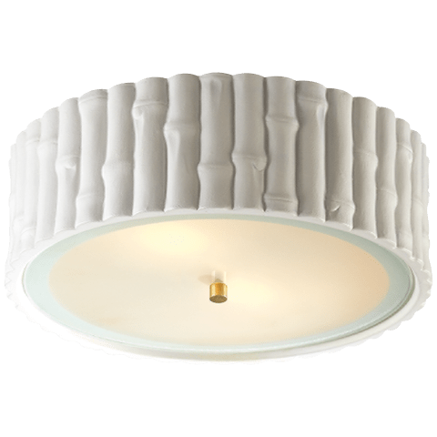 Frank Large Flush Mount in White with Frosted Glass