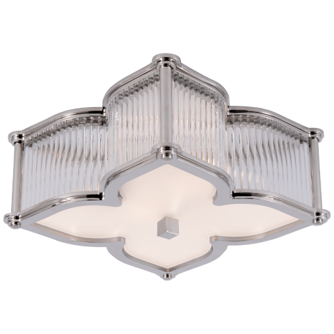 Lana Small Flush Mount in Polished Nickel and Clear Glass Rods with Frosted Glass