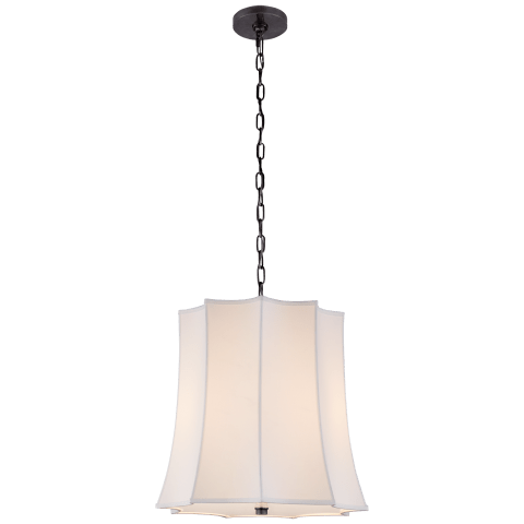 Peter Crown Hanging Shade in Gun Metal with Natural Percale Shade
