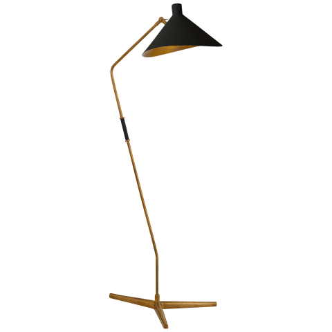 Mayotte Large Offset Floor Lamp in Hand-Rubbed Antique Brass with Black Shade