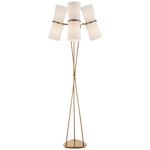 Clarkson Triple Floor Lamp in Hand-Rubbed Antique Brass and Black with Linen Shades