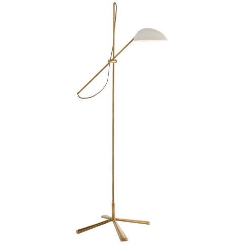Graphic Floor Lamp in Hand-Rubbed Antique Brass with White