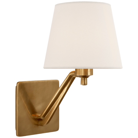 Union Single Arm Sconce in Hand-Rubbed Antique Brass with Linen Shade