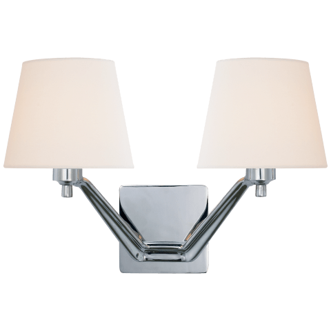 Union Double Arm Sconce in Polished Nickel with Linen Shades
