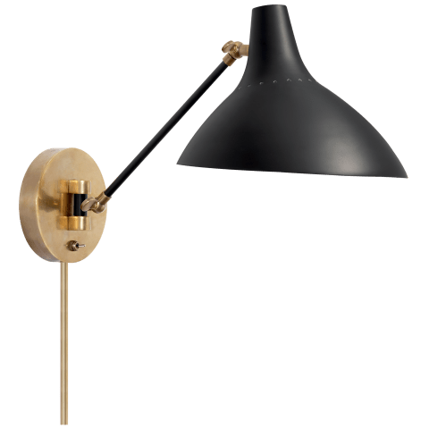 Charlton Wall Light in Black and Hand-Rubbed Antique Brass
