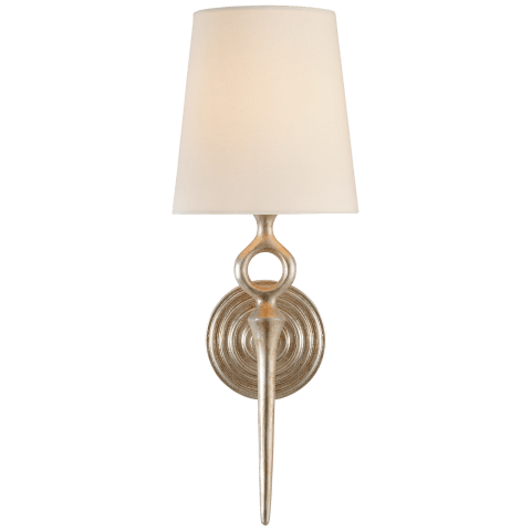 Bristol Single Sconce in Burnished Silver Leaf with Linen Shade