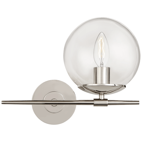 Turenne Small Sconce in Polished Nickel with Clear Glass