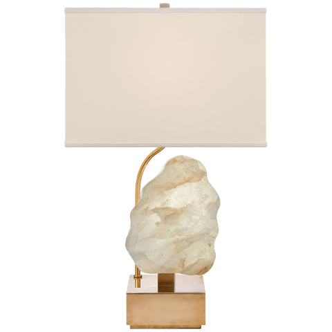 Trieste Small Table Lamp in Hand-Rubbed Antique Brass and Quartz with Linen Shade