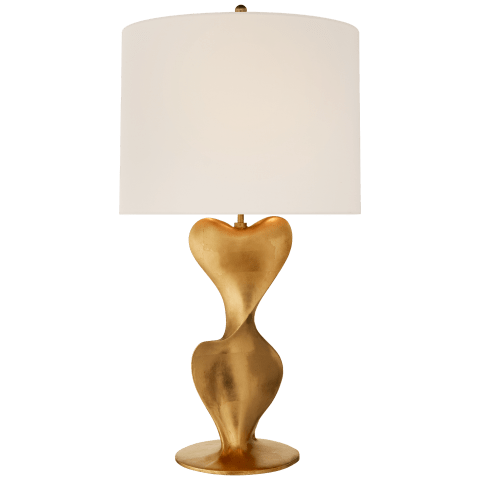 Clausis Large Table Lamp in Gild with Linen Shade