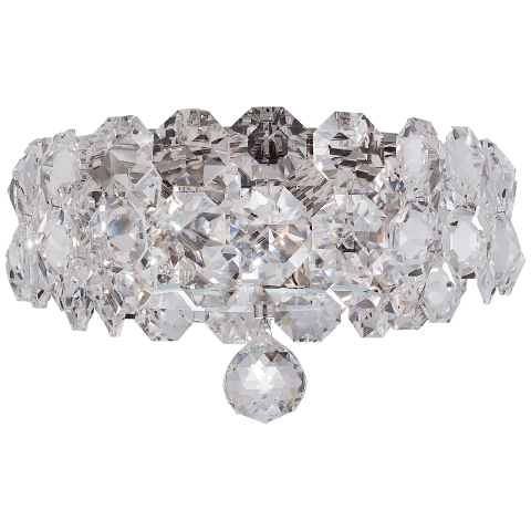 Sanger Medium Flush Mount in Polished Nickel with Crystal