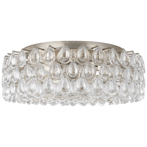 Liscia Large Flush Mount in Burnished Silver Leaf with Crystal