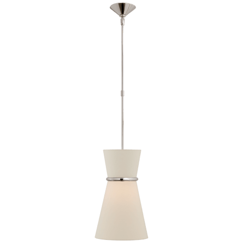 Clarkson Small Single Pendant in Polished Nickel with Linen Shade