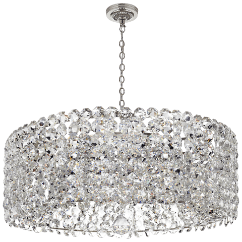 Sanger Grande Chandelier in Polished Nickel with Crystal