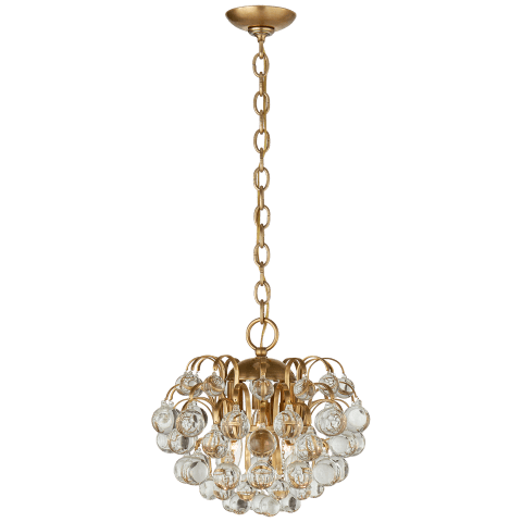 Bellvale Small Chandelier in Hand-Rubbed Antique Brass with Crystal