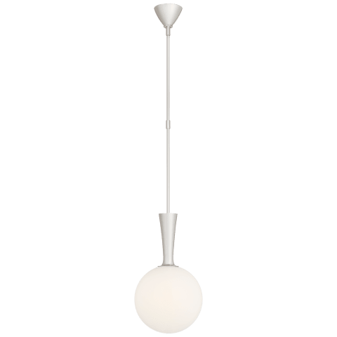 Sesia Small Globe Pendant in Polished Nickel with White Glass