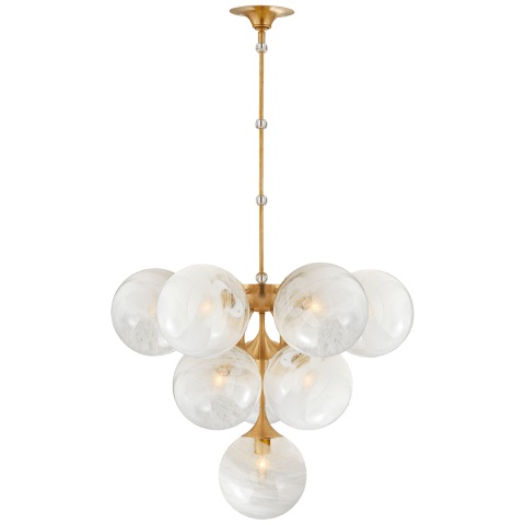 Cristol Tiered Chandelier in Hand-Rubbed Antique Brass with White Strie Glass