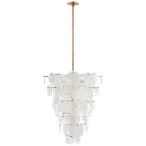 Loire Cascading Chandelier in Gild with White Strie Glass