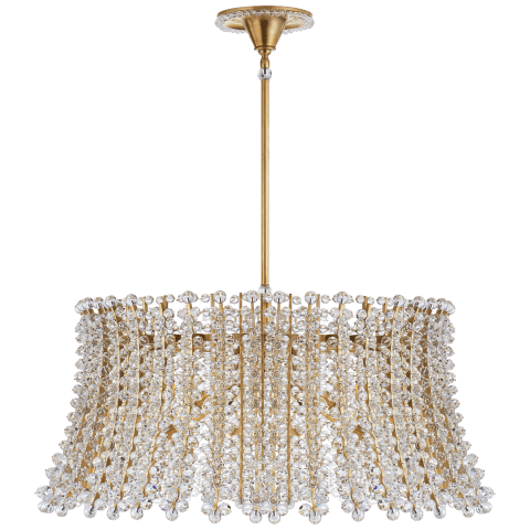 Serafina Large Drum Chandelier in Hand-Rubbed Antique Brass with Crystal
