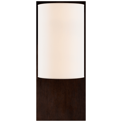 Plank Sconce in Dark Walnut with Linen Shade