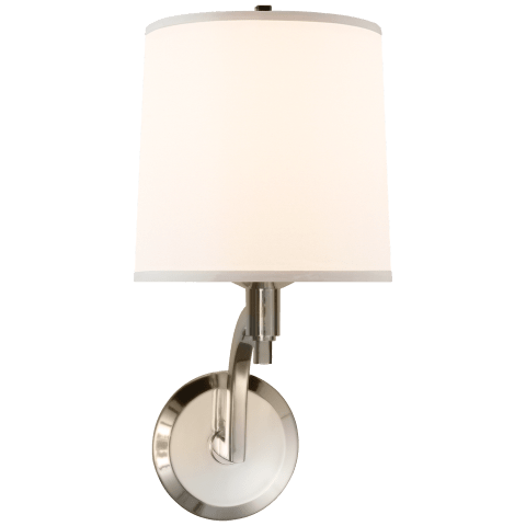 Westport Sconce in Soft Silver with Silk Shade