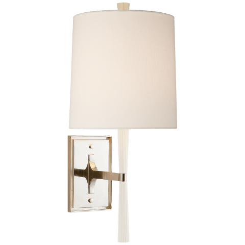 Refined Rib Sconce in China White and Polished Nickel with Linen Shade