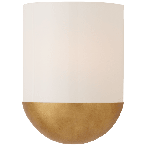 Crescent Small Sconce in Gild with White Glass